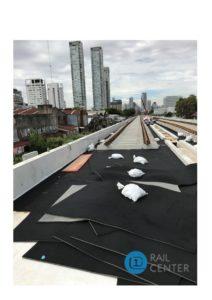Instalación de las mantas Getzner en el Viaducto San Martín